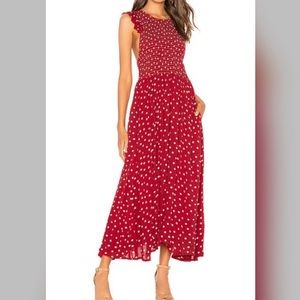 Free people chambray butterflies red dot dress M